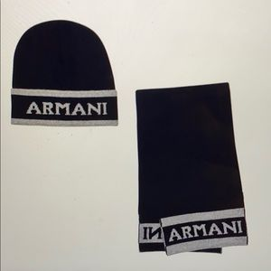 Armani baby hat and scarf set